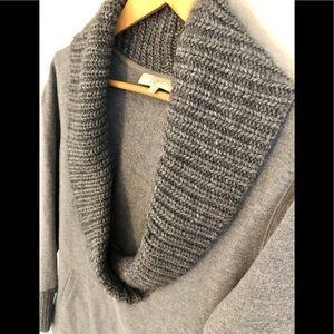 LOFT Gray Deep V Cowl Neck Sweater w/ pockets